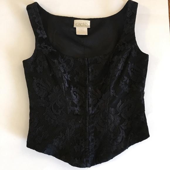 edbf56c3b6 Cache Tops - Cache vintage xs black lace bustier corset top